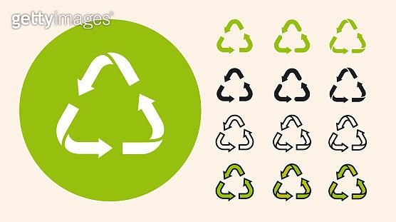 Recycling Garbage Triangle Arrows Eco Symbol. Minimal Flat Line Outline Stroke Icon Set.