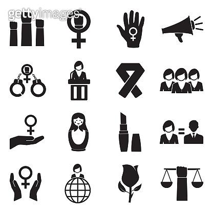 Feminism Icons. Black Flat Design. Vector Illustration.