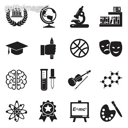 Academy Icons. Black Flat Design. Vector Illustration.