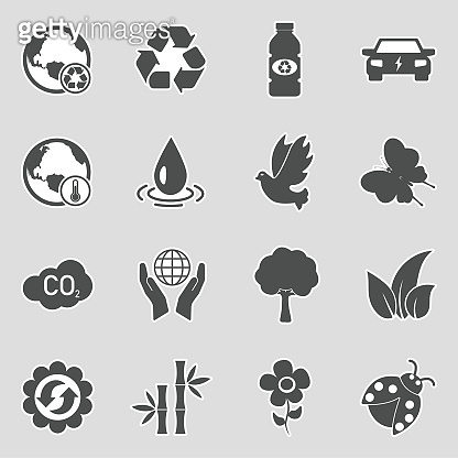 Environment Icons. Sticker Design. Vector Illustration.