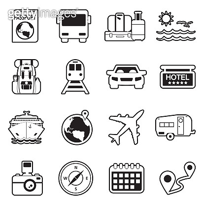 Travel Icons. Set 2. Line With Fill Design. Vector Illustration.