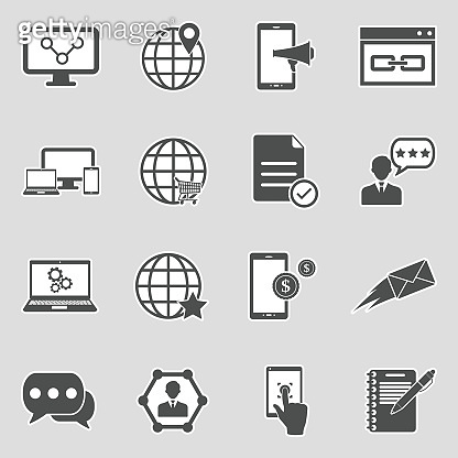 Internet Marketing Icons. Sticker Design. Vector Illustration.