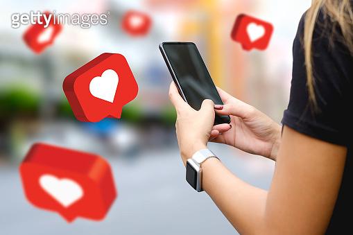 Social media,social network concept with smart phone , 3d illustration