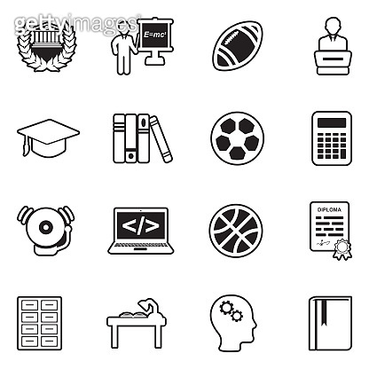 University Icons. Line With Fill Design. Vector Illustration.