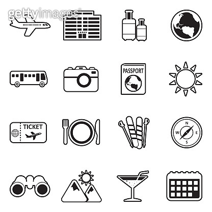 Travel Icons. Line With Fill Design. Vector Illustration.