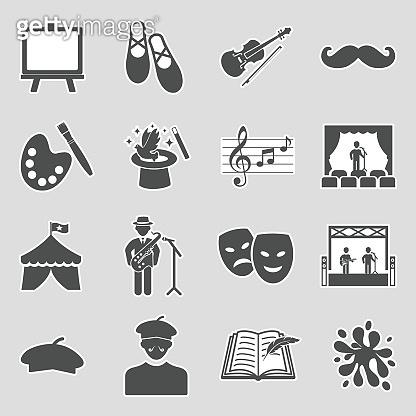 Artist Icons. Sticker Design. Vector Illustration.
