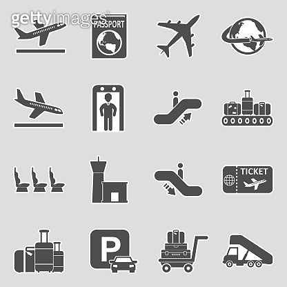 Airport Icons. Set 2. Sticker Design. Vector Illustration.
