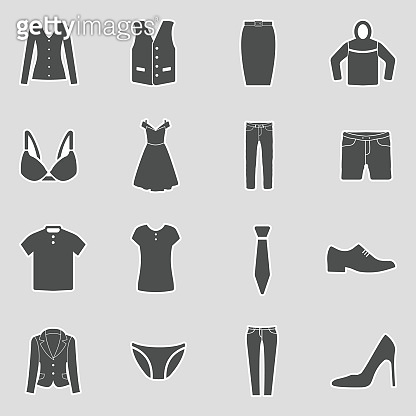 Clothes Icons. Sticker Design. Vector Illustration.