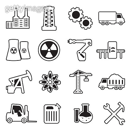 Industry Icons. Line With Fill Design. Vector Illustration.