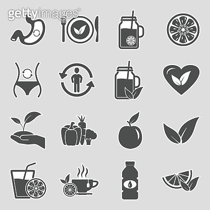 Detox Icons. Sticker Design. Vector Illustration.