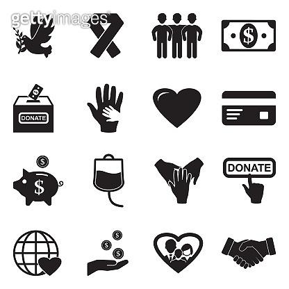 Charity Icons. Black Flat Design. Vector Illustration.