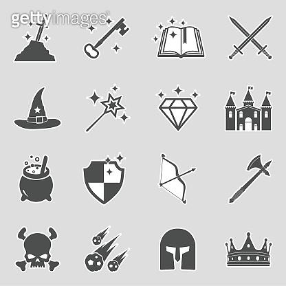 Fantasy Icons. Sticker Design. Vector Illustration.