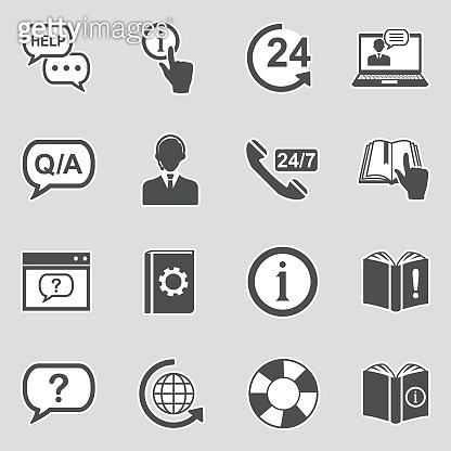 Help And Support Icons. Sticker Design. Vector Illustration.