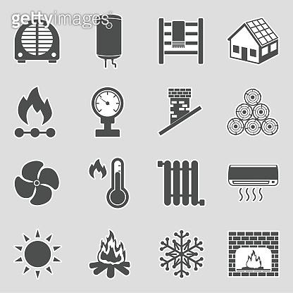 Heating Icons. Sticker Design. Vector Illustration.