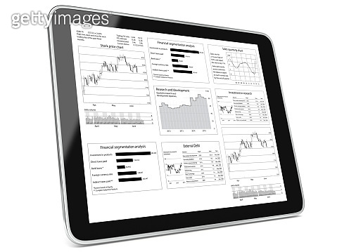 Business report chart analysis tablet computer