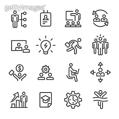 Management and Human Resources Icons - Line Series