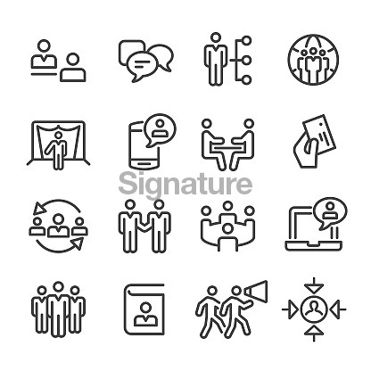 Business Networking Icons Set - Line Series