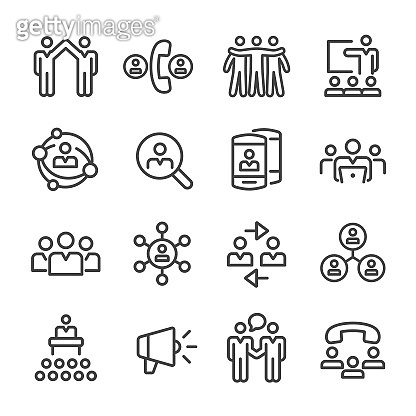 Business Networking Icons - Line Series