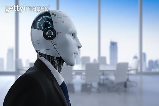 Robotic businessman in office