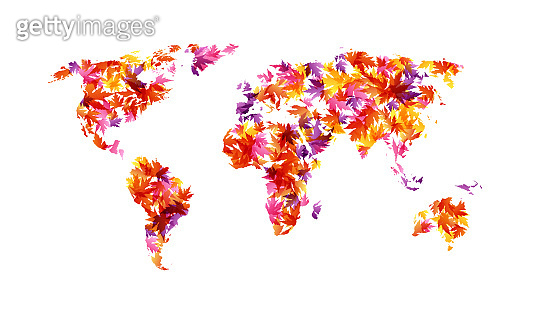 World map from colorful autumn leaves. Vector decoration from scattered elements. Colorful isolated silhouette. Conceptual illustration.