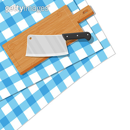 Wooden cutting board and kitchen knife.
