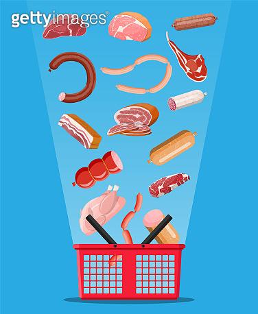 Shopping supermarket basket full of meat.