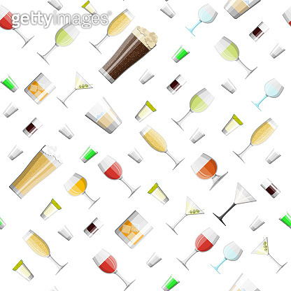 Alcohol drinks in glasses seamless pattern.