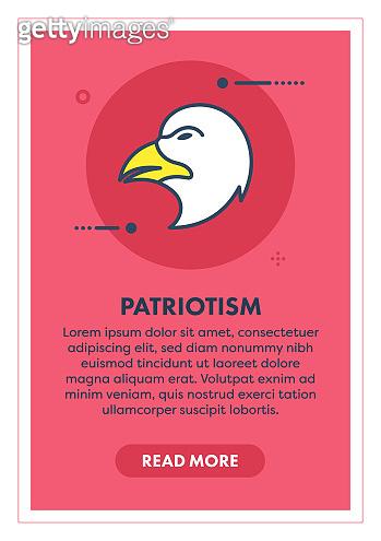 Bald Eagle Patriotism Web Banner Illustration with Icon.