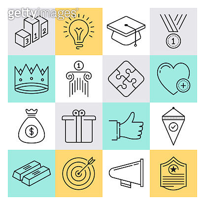 Gamification & Mobile Marketing Outline Style Vector Icon Set