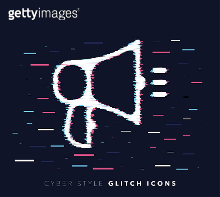 Announcement Message Glitch Effect Vector Icon Illustration