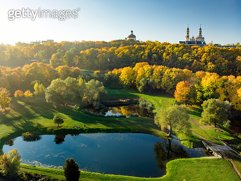 Aerial view of Vilnius cityscape shot from Subaciaus viewpoint on autumn sunset