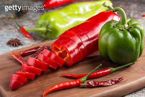 A variety of chilies