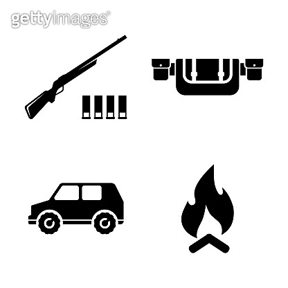 Safari Hunting. Simple Related Vector Icons