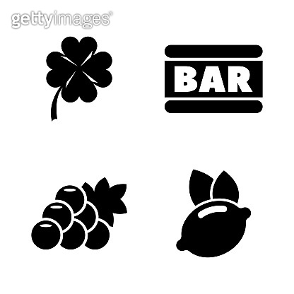 Casino, Slot Machine. Simple Related Vector Icons