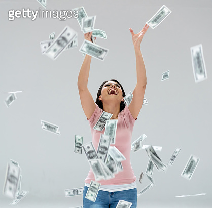 Excited woman winning the lottery