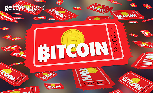 Bitcoin Cryptocurrency Digital Blockchain Money Tickets Contest Enter to Win 3d Illustration