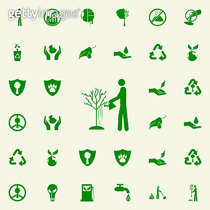 man watering a tree green icon. greenpeace icons universal set for web and mobile