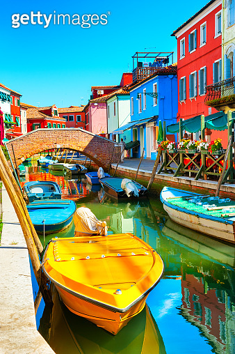 Colorful houses on the canal in Burano, Venice, Italy