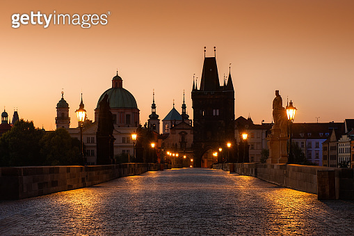 Charles Bridge at sunrise in Prague, Czech Republic