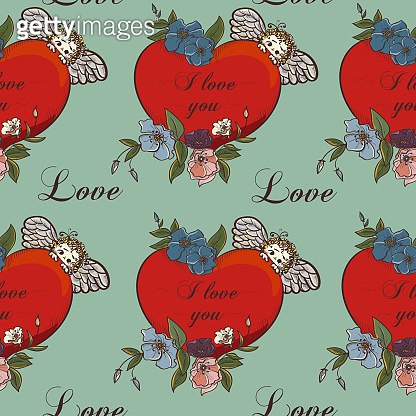 Vintage hand drawn romantic hearts seamless pattern vector