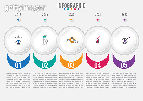 Business infographic template with 5 options circular shape, Abstract elements diagram , parts or processes and business flat icon, Vector business template for presentation.Creative concept for infographic.