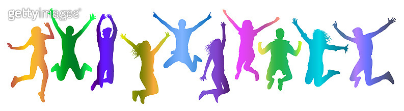 Jumping people (crowd) silhouette colorful gradient, set. Vector illustration.