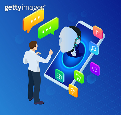 Isometric artificial intelligence. Science teacher bot. Chat bot and future marketing. AI and business IOT concept. Mans and women chatting with chatbot application. Dialog help service.