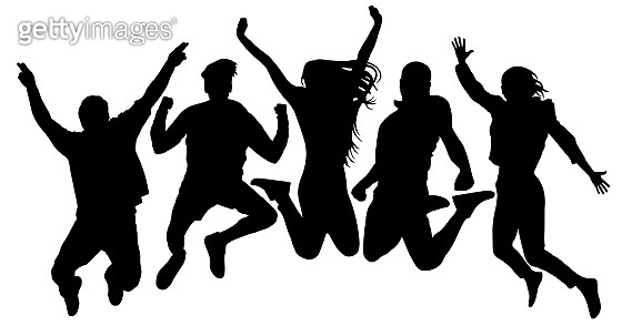 People jump vector silhouette. Jumping friends youth background. Crowd people, close to each other. Cheerful man and woman isolated