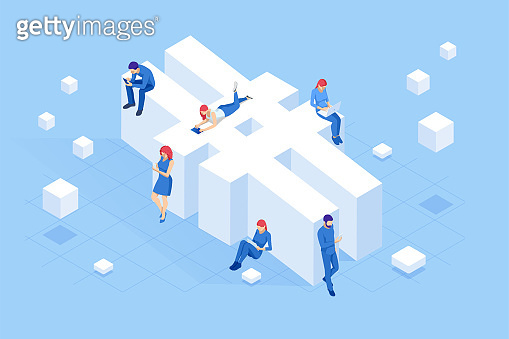 Isometric social network hashtag or hashtag blogging, Concept of hashtag for social media marketing advertising concept. Young people using mobile tablets and smartphones for sending posts and sharing