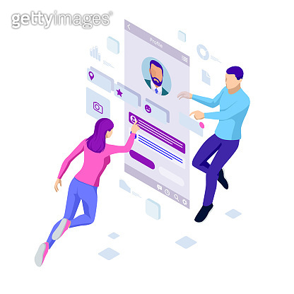 Isometric concept of recruitment management. Employment, social presentation for recruiting. Application for employee hiring. Search for new employees. Career growth. Success in business and work
