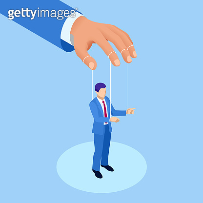 Isometric Businessman Puppet, Controlled Workers. Concept. Worker Marionette on Ropes Controlled Boss Hand.