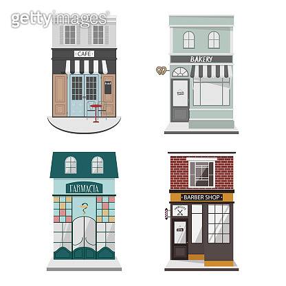 Set of vector detailed design building facade in flat style. Cafe, Barber shop, Bakery,Farmacy. Isolated vector illustration