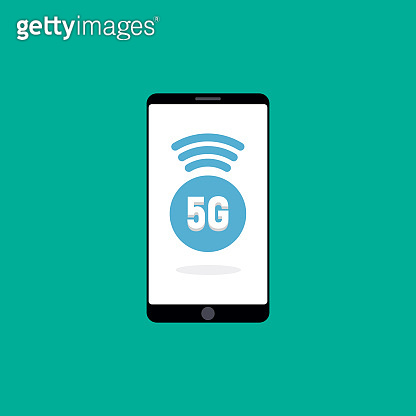 phone with 5G mobile network logo on screen. Business illustration