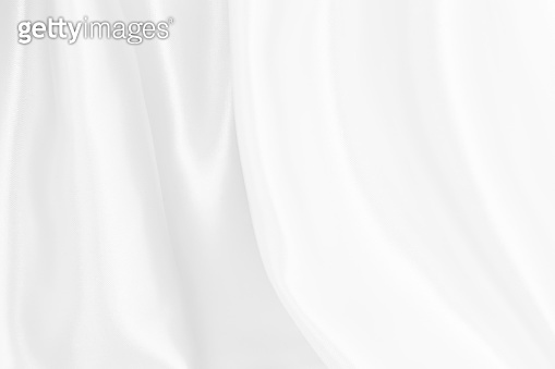 White silk satin background smooth texture background. Abstract  grey wavy fabric cloth pattern or canvas soft, Natural linen textured design textile worsted have wave. Concept for cotton.